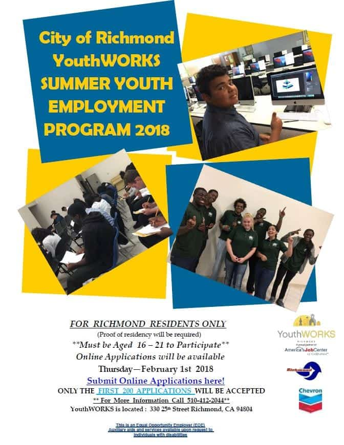 YouthWORKS 2018 Summer Youth Employment Program ~ Accepting Applications!