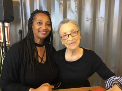 Richmond Main Street Executive Director Amanda Elliott (left) with activist and author Betty Reid Soskin (right)