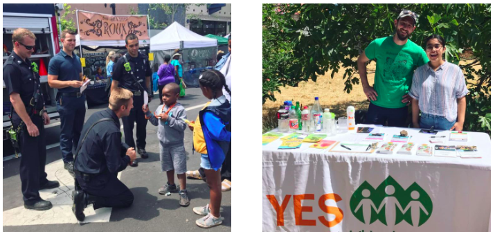 2 photos from Healthy Village Festival 2019: Young boy chatting with Richmond Fire Fighters (left) and YES Nature to Neighborhoods staff at their info booth (right)