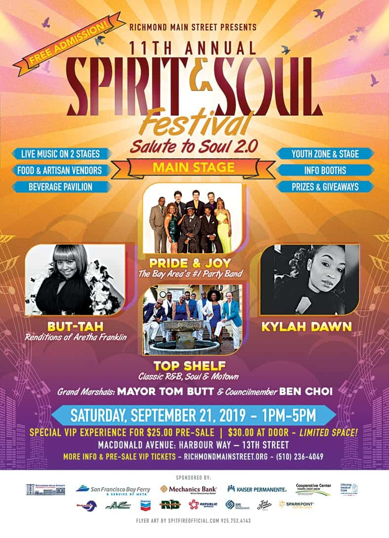 "Celebrate Downtown Grand Finale and ""Salute to Soul 2.0"" with Bay Area's Best Bands set for September 21 at 11th annual Spirit & Soul Festival"
